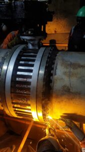 Welding of the WNRF flanges to install butterfly valve, this joint is also called golden joint.
